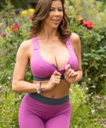 Alexis Fawx Fucking a big hard cock as she does yoga in the park as her hard nipples pop out of her top
