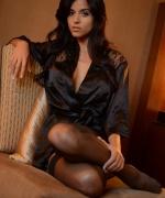 Janessa Brazil black silk robe