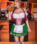 Katie banks is the german wench ready to server you big jugs of beer and tease you with her massive boobs