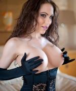 Katie Banks black satin gloves