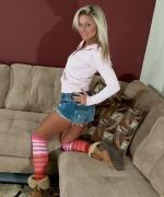 Kendra Rain striped socks jean shorts