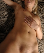 MC-Nudes hot blonde naked and spreading on shag carpet.