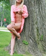 Madden goes for a picnic wearing no knickers on bra  just a lovely pink flowing dress that she lifts up to give us a glimpse of her bigger boobs