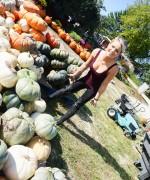 Meet Madden Pumpkin Shopping as strips to her panties in the field