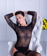 Met Art Leyla Lee teases with her sheer thur body suit before she strips off totally nude apart from her black stockings