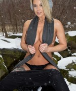 Nikki sims snow day teasing using her scarf to hide her bib boobs and hard nipples