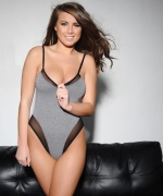 Sarah McDonald topless on the couch