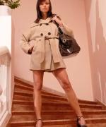 Teen Models trench coat strip