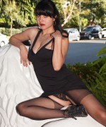 Amber Santos Zishy Pics in a sexy black body stocking and her little black dress looking amazing