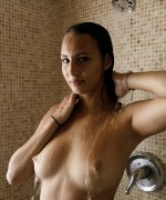 Lilo Mai Nude Pics as she goes for a shower and the drop pof water slowly dip down her ample natural boobs